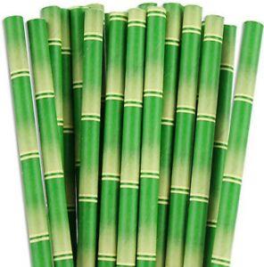"Bamboo Paper Straws Design 8"" (20cm) Biodegradable Compostable 6mm Bore"