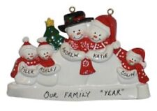 Personalized Snowman Family of 5 Christmas Ornament