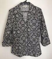 Coldwater Creek Women M Shirt Bkack White Top Button Front 3/4 Sleeve Split Neck
