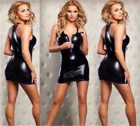 PVC Dress, PVC wet look Mini dress Size M. Half zip