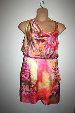 Womens JENNIFER LOPEZ Sleeveless Watercolor Multi Color Dress Large L EUC