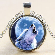 Sirius Black Animagus Wolf+Vollmond Glas Anhänger+Kette Silber (Harry Potter)