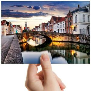 """Bruges Cityscape Riverside Small Photograph 6"""" x 4"""" Art Print Photo Gift #16168"""