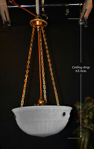 Rare 1930s Art Deco Opaline moonstone milk glass & bronze pendant light fixture