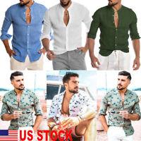 Mens Linen Long Sleeve Summer Solid Shirts Casual Loose Dress Soft Tops Tee US