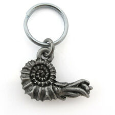 Ammonite fossil paleontology Pewter Keychain or Zipper Pull