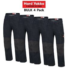 Mens Hard Yakka Legends Denim Work Jeans 4 PACK Cargo Pants Tough Cordura Y03041