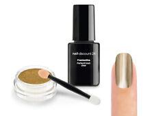 Mirror Chrome Gold Pigment STARTER SET Pulver Puder UV Finish Versiegler Nailart