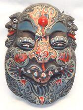 Vtg Wood Head Face Mask Wall Hanging Art Decor Detailed Paint Indonesian Buddha
