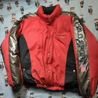 VTG 90s Ralph Lauren Polo Sport Down Puffer Jacket XL Red Black Silver Spell Out