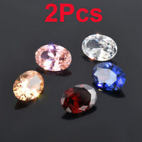 New 2Pcs Delicate Oval Cut Natural Glossy Gemstones Zircon Gems Diamonds 10X14mm