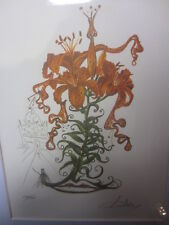 salvador dali numberd and signed pencil litho  Tiger Lilies of the Theat