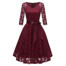 Womens Vintage Swing A-line Lace Pure Color Cocktail Wedding Party Dress Gown US