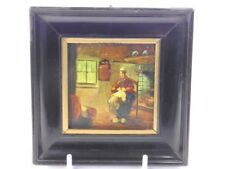 Antique 19th century miniature oil painting portrait of a lady in cottage