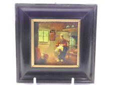 Pintura al óleo antigua 19th Century En Miniatura Retrato de una dama en Cottage