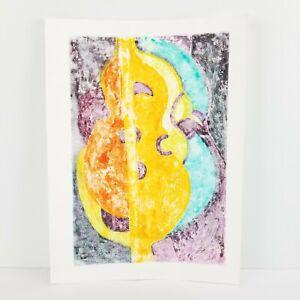Vintage Abstract Silkscreen Painting Violin Music Wall Art