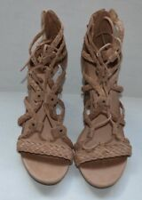 WOMEN'S  MERONA LACE UP STRAPPY HIGH HEELS SIZE 11 LIGHT BROWN COLOR.