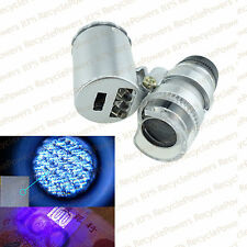 60X Zoom Magnifier Microscope Lens Loupe Jewelry Eye Coins LED Light ultraviolet