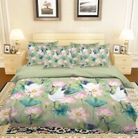 3D Flowers Birds Bed Pillowcases Quilt Duvet Cover Set Single Queen King Size AU