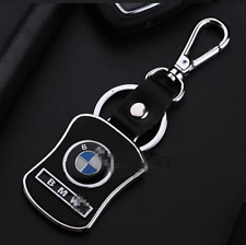 Car Keyring Key Ring BMW Real leather Stainless Steel Badge Emblem