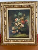 Collectible Oil Painting flower floral still life signed Pierre(?)
