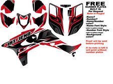 DFR TRACTION GRAPHIC KIT BLACK/RED SIDES/FENDERS 04-05 HONDA TRX450R TRX 450