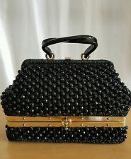 Vintage GLADYS GOLDEN MISTER GIGI ITALY BOX PURSE BLACK BEADS 2 COMPARTMENTS FAB