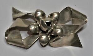 Stamped RAFFAELE Sterling Silver FLOWER on BOW Shape Pin Brooch 18.62g