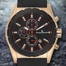 Studer Schild Luxury Multi-Function Chronograph Rose Gold Black Dial Mens Watch