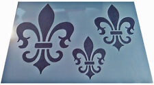 Shabby Chic plastic stencil Vintage Damask Fleur de lys lis on A4 sheet French