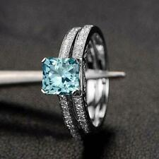 2.50Ct Princess Cut Aquamarine & Diamond Wedding Ring Set in 14K White Gold Over