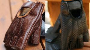 Motorcycle leather Fingerless Gloves Short HEAVY DUTY Harley BLACK/TAN/BROWN