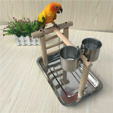 Pet Parrot Bird Perch Rack Playstand Play Training Stand with 2 Feeding Bowl Cup