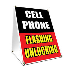 A-frame Sidewalk Sign Cell Phone Flashing Unlocking Double Sided