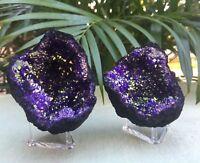 Purple Geode Pair W/Stands Crystal Geode Quartz Gemstone Specimen Morocco Geode