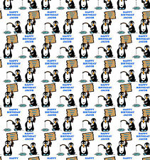 Personalised Gift Wrapping Paper PENGUINS Kids Birthday Any Name! Large Sheet!