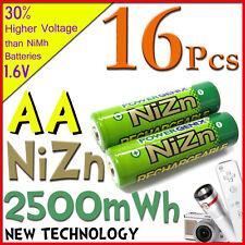 16pcs AA 2A 2500mWh NiZn 1.6V rechargeable battery PowerGenix