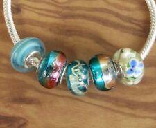 5 x Beads Sterlingsilber und Glasperle *** AUS ECHTEM SILBER und Glas, blau