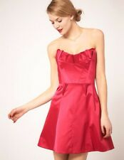 NWT KAREN MILLEN Women's Fuchsia Strapless Cotton Blend Satin Dress Sz 2 LP1377