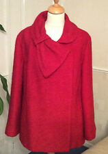 MARKS & SPENCERS ..  PER UNA  .. RED BOUCLE STYLE JACKET / COAT .. UK SIZE 12
