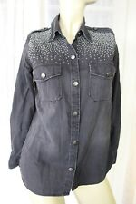 SIZE 0 CURRENT/ELLIOTT BLACK DENIM BUTTON FRONT PRESS STUD DETAIL SHIRT TOP 🍾