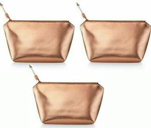 LANCOME Shiny bronze rose gold metallic Makeup Bag Case Toiletry lot set x 3 new