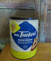 Vintage Mrs Tucker's Shortening Large 8lbs Metal Tin Can Pail Handle Advertising
