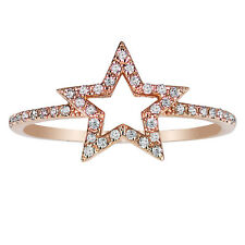 14k Rose Gold 0.21ctw Diamond Open Star Ring Size 6 Handmade in USA NEW with TAG