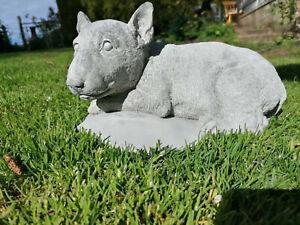 English Bull Terrier Puppy Dog Stone Statue Animal Concrete Garden Ornament