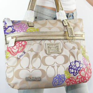 NWT Coach Poppy Daisy Signature Applique Shoulder Hand Bag Glam Tote F20794 New