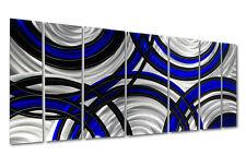 Blue & Black Contemporary Modern Metal Wall Art - Crossroads Blue by Jon Allen