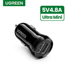 Ugreen Mini USB Car Charger Adapter 4.8A Dual Port Fast Charger Fr iPhone X 8 LG