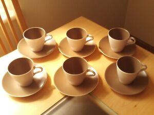 Vintage X6 Poole Twintone Pottery Sepia & Mushroom Cups & Saucers