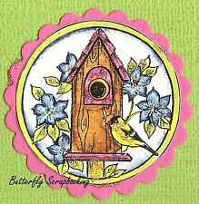 Bird Flower Birdhouse In Circle Wood Mounted Rubber Stamp Northwoods C10014 New